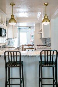 very blue kitchen, Kitchen, Dining Room, remodel, painted ceiling, dmv interior designer, bowie maryland, washington dc, pendants