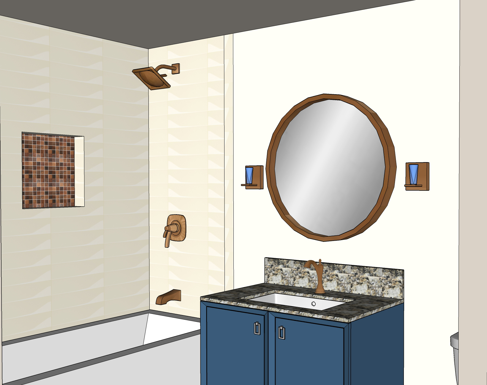 Earthy Bathroom, Bathroom Remodel, remodel, dmv interior designer, bowie maryland, washington dc, Blue vanity, 3d model
