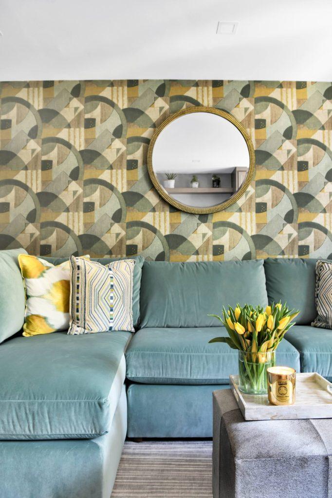Wallpaper and Custom Sofa Southwest DC Waterfront Condo
