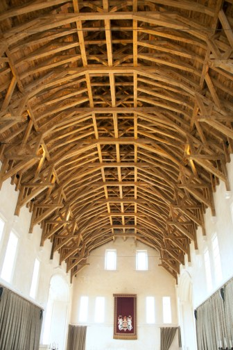 During WWII, the ceiling in the great hall was taken down and the building was converted to two storeys to accommodate soldiers, which means that this ceiling was re-created in its entirety by a team of master craftsmen for the Stirling restoration project. Amazing!