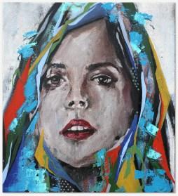 "Carla, 2016 23"" x 22"" Mix Media on canvas"