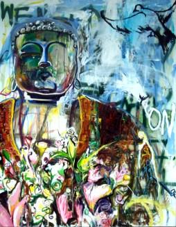 Buddha Bye Dzine, 2008 6'x5' mixed media on denim