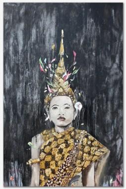 "All Gold Everything, 2016 54"" x 37"" Acrylic, oil, spray paint on canvas"