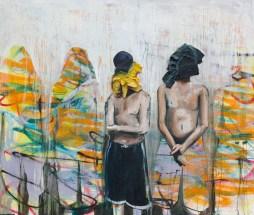 "Local Boys wear rags, 2015 48""x 60"" Mix Media on canvas"