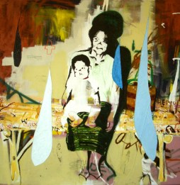 Mother and Child, 2008 6'x6' mixed media on canvas