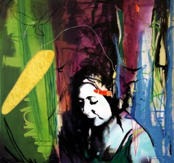 "pineapple, 2008 48""x60"" mixed media on canvas"