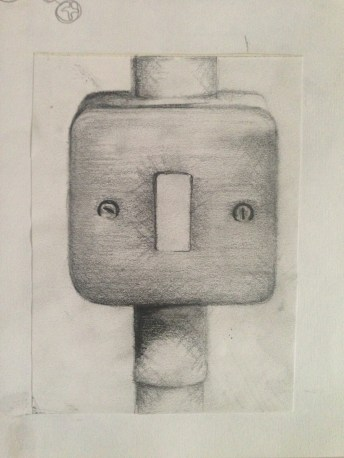 Observational drawing of a switch socket.