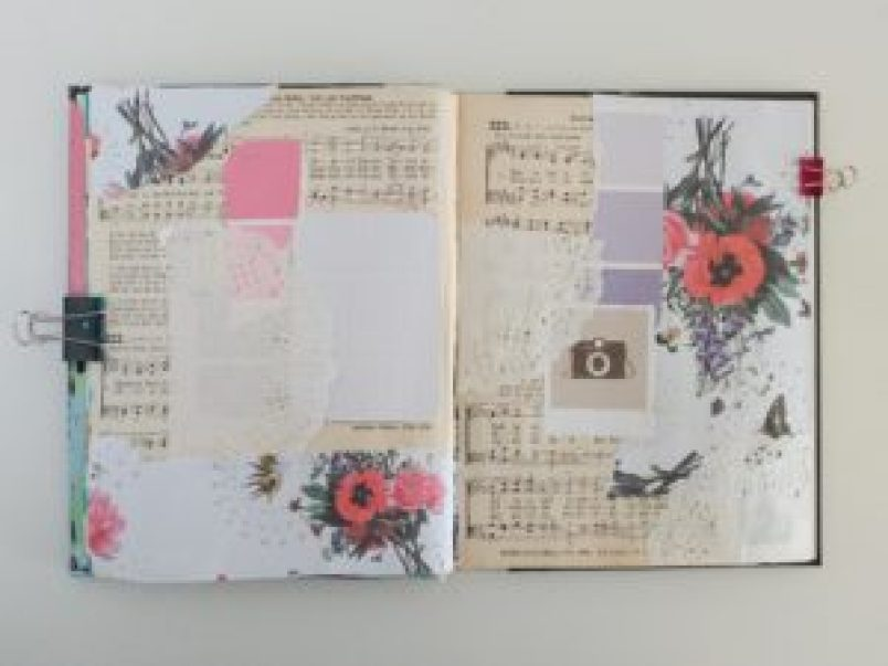 Mixed media art journal collage background
