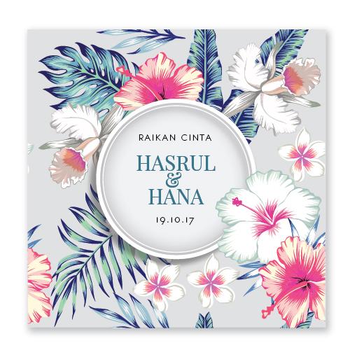 Kad kahwin Floral 68 tropical