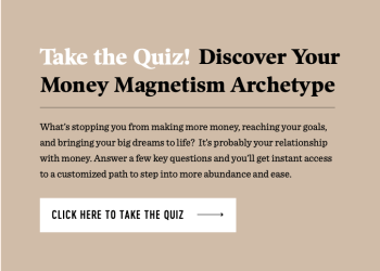 Landing page of Melyssa Griffin's Discover Your Money Magnetism Archetype lead-generating quiz.