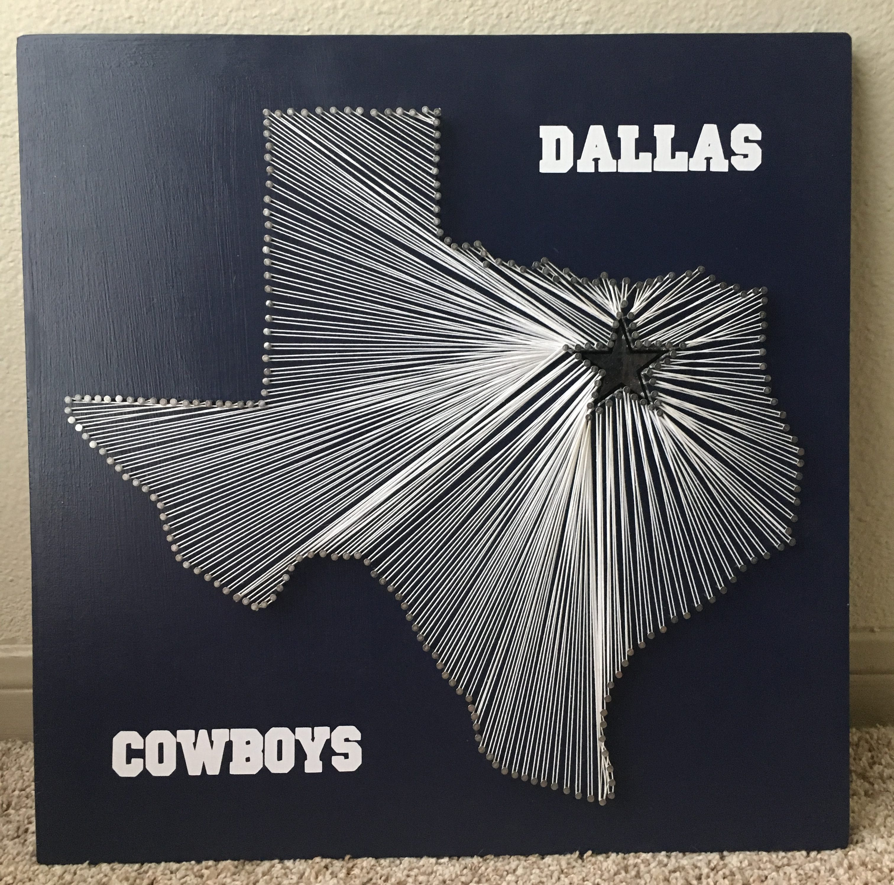 A christmas gift for my boyfriend a die hard dallas cowboys fan i decided that a cowboys string art in the shape of our beloved state of texas would
