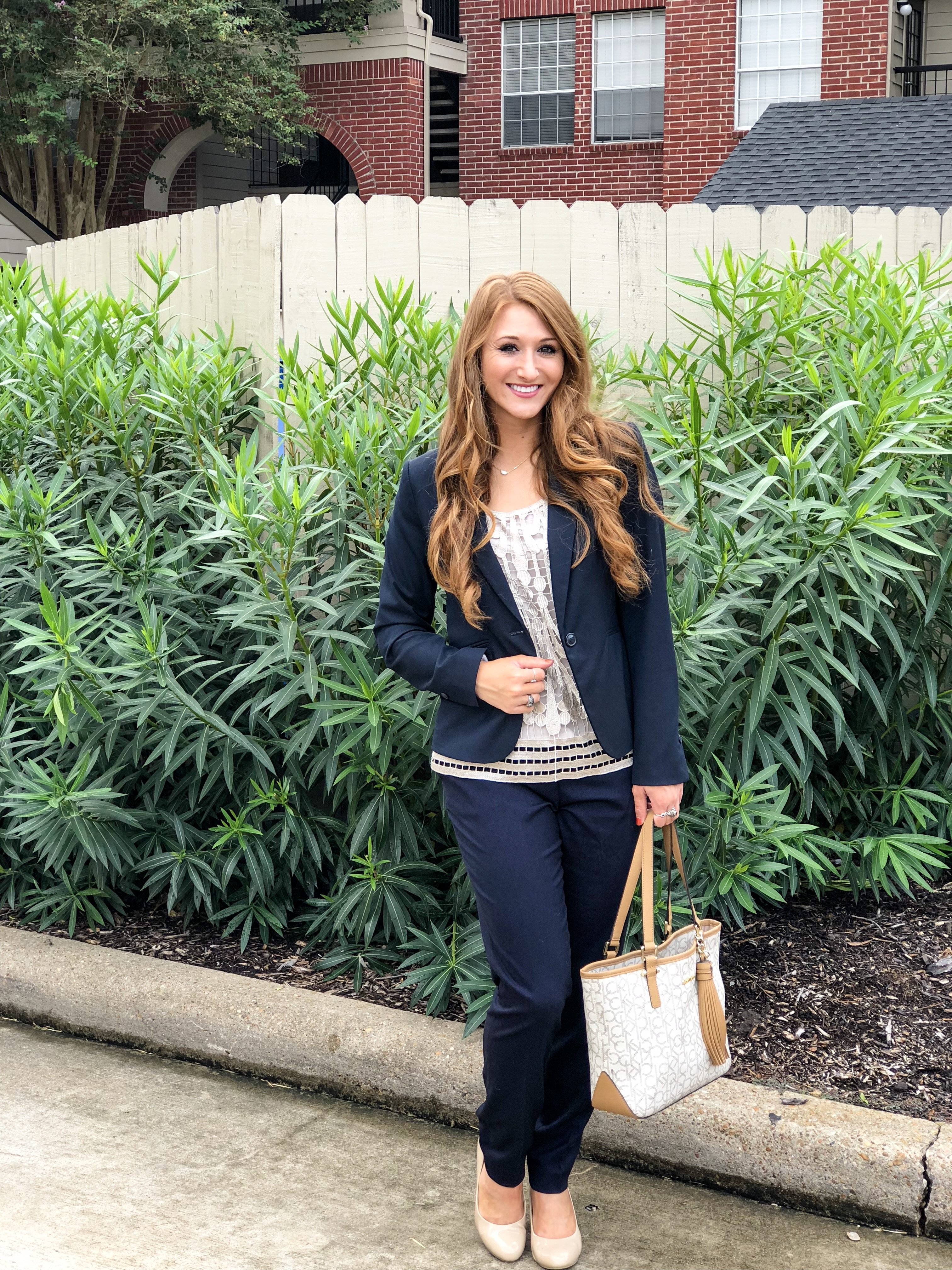 Workday Wednesday: 3 Outfits with Navy Blue Slacks | Chaos and Coffee