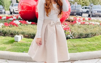 Sequin Bow Skirt Under $50 | Chaos and Coffee