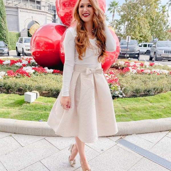 Sequin Bow Skirt Under $50