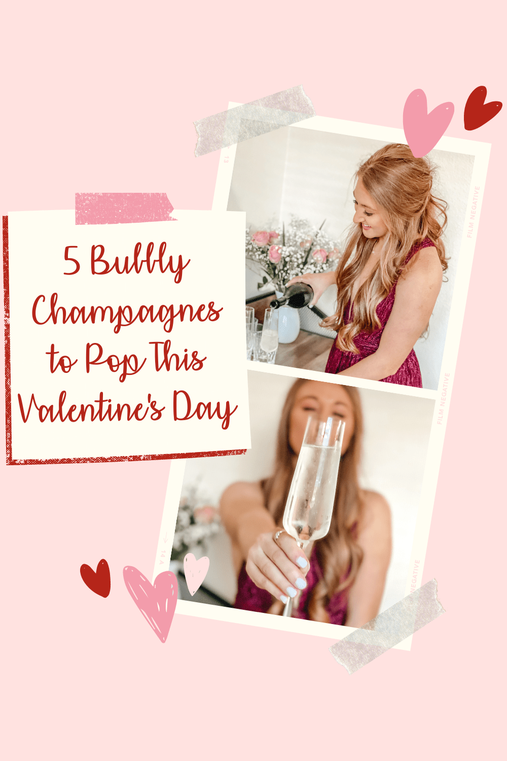 5 Bubbly Champagnes to Pop This Valentine's Day// pouring champagne prosecco for Valentine's Day and wearing a dress for Valentine's Day from Nordstrom Pinterest Pin