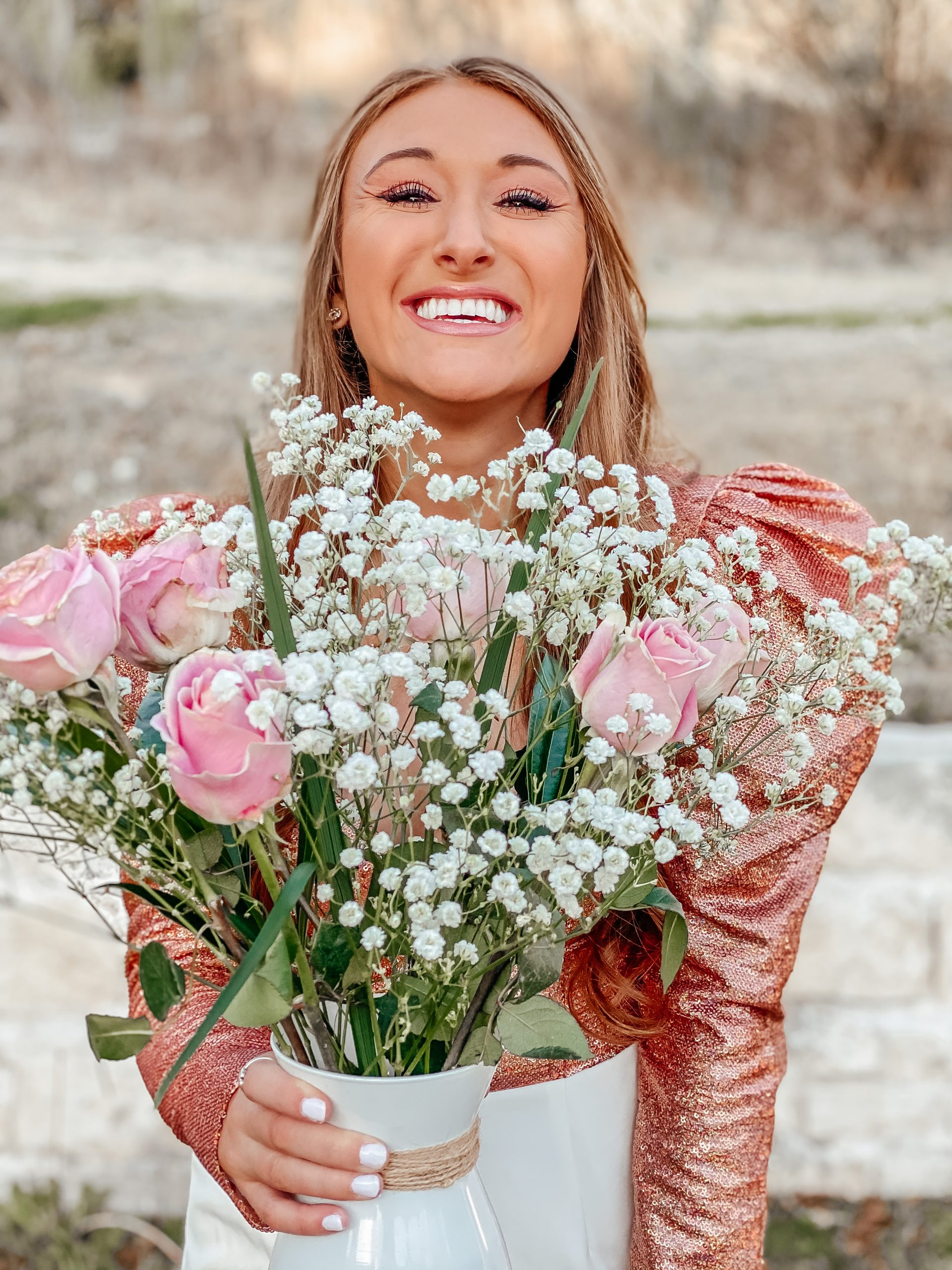 Sequin jumpsuit and Valentine's Day outfit idea \\ flowers for Valentine's Day