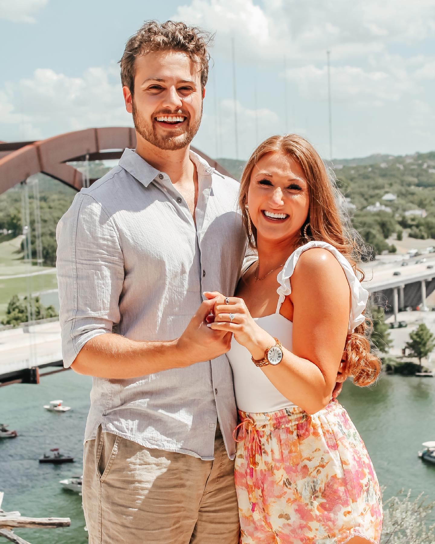 Carrington and Jordan at their proposal at the 360 Bridge in Austin, TX.