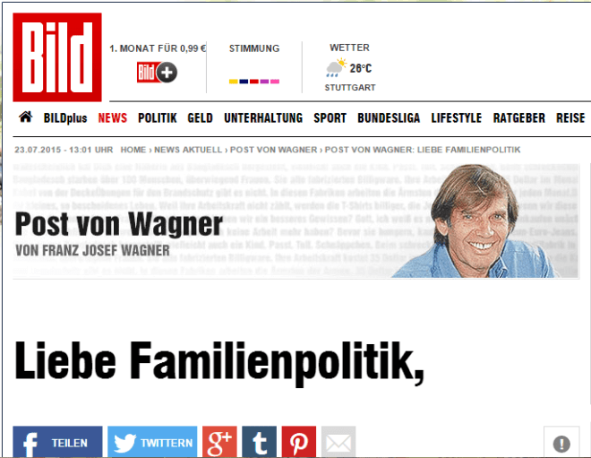 Bild Zeitung Post an Wagner