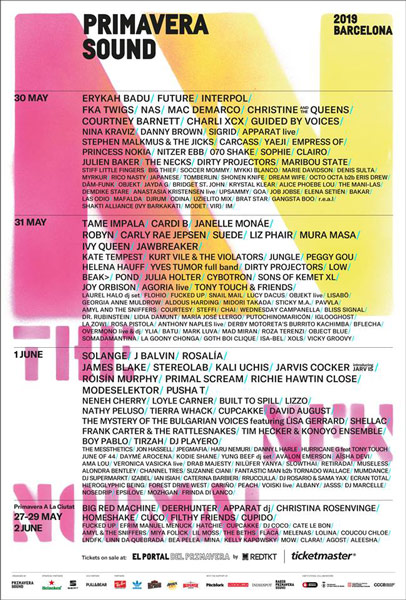 primavera sound 2019 poster, bands, video, tickets and more