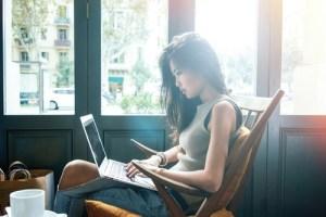 Girl posting links in coffee shops.