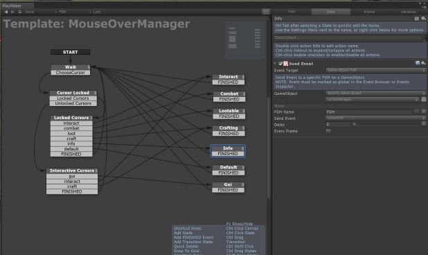 Unity3d Playmaker mouseover state machine