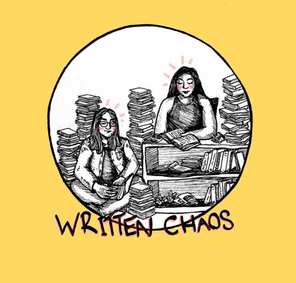 Two girl surrounded by books with the logo written chaos on the bottom