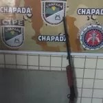 Cipe Chapada prende homem com arma de fogo no centro de Ruy Barbosa