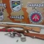 Cipe Chapada prende homem com revólver e duas espingardas na zona rural de Novo Horizonte