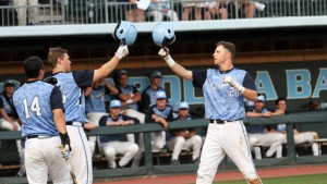 A solo shot in the fifth inning by Skye Bolt (right) proved to be the difference. (UNC Athletics)