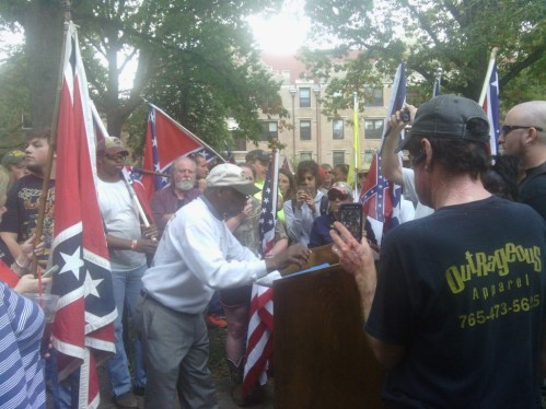 H.K. Edgerton speaking at Sunday's rally. (Photo by Aaron Keck.)