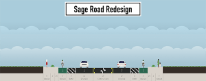 How Sage Road will look with bike lanes on either side of the roadway. Photo via Town of Chapel Hill