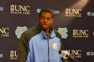 UNC senior Kareem Martin addresses the media after the game.