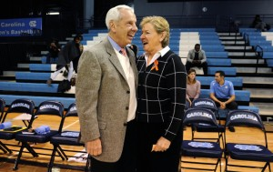 Roy Williams dropped by to welcome Hatchell back to sidelines (UNC Athletics)
