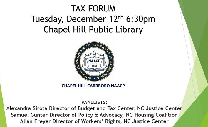 """Local NAACP Holding Forum on """"Tax Cut and Jobs Act"""""""