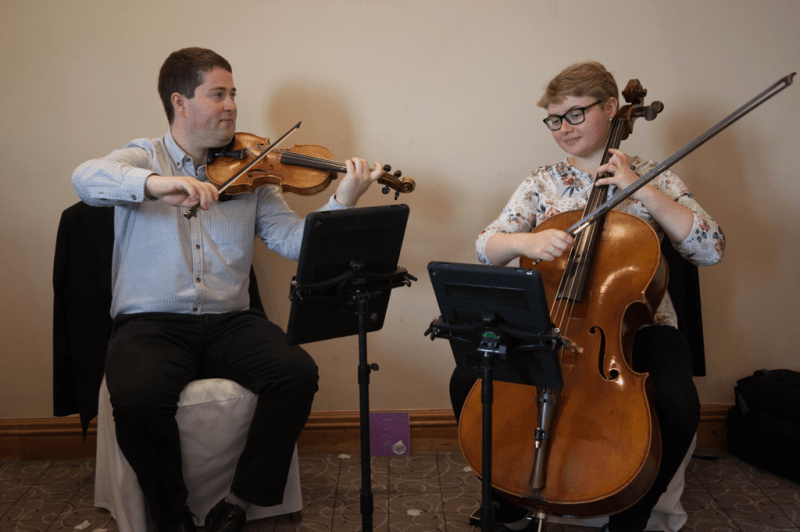 The Chapel Hill Duo performing at a wedding at Belton Woods Hotel.