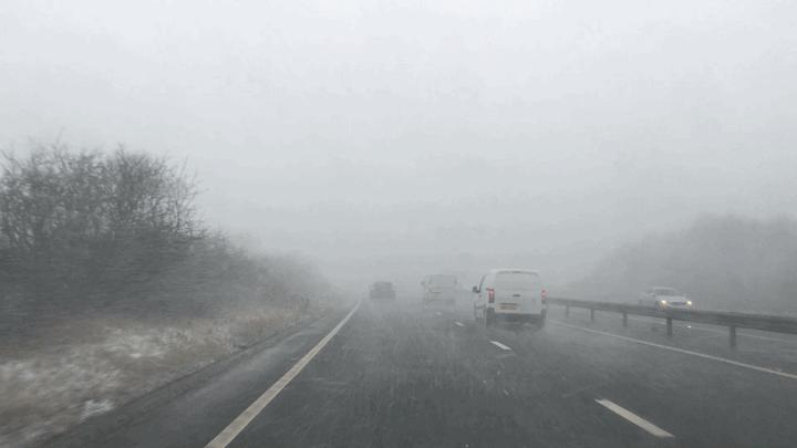 Driving to a wedding through a blizzard.
