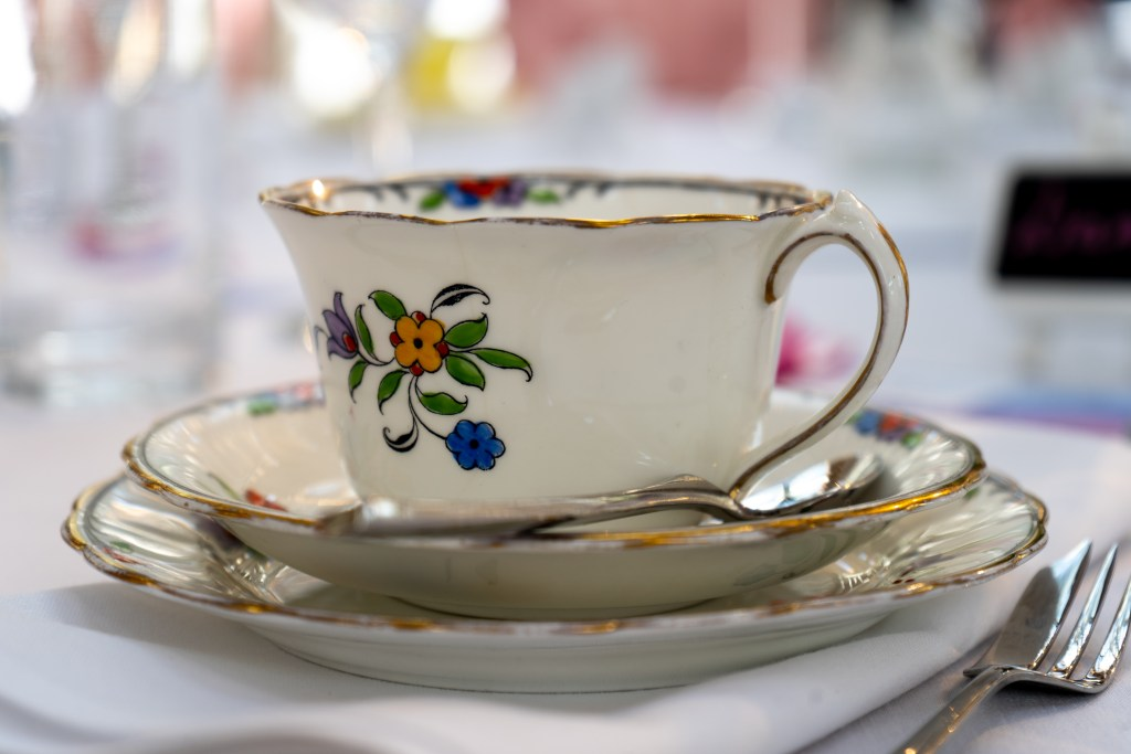 A teacup at an afternoon tea style wedding breakfast that the Chapel Hill Duo performed at.