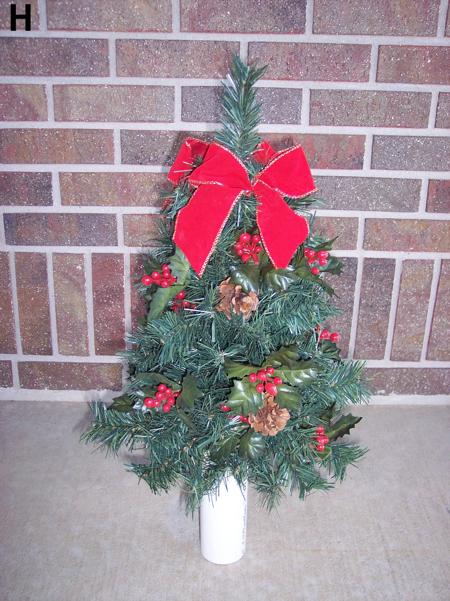 christmas tree for cemetery vase
