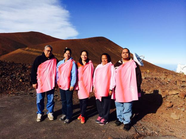Six Hawaiians went to the summit to do protocol and pule (prayers) after the sunrise ceremony.