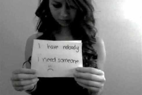Screenshot of Amanda Todd's YouTube video, My story: Struggling, bullying, suicide, self harm posted before her suicide in October 2012.
