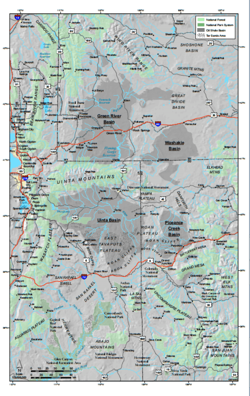 Map of oil shale and tar sands deposits in Utah, Colorado and Wyoming.