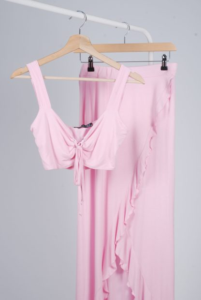 Boohoo Pink Jersey Co-Ord Set - Size 10 - Front Detail