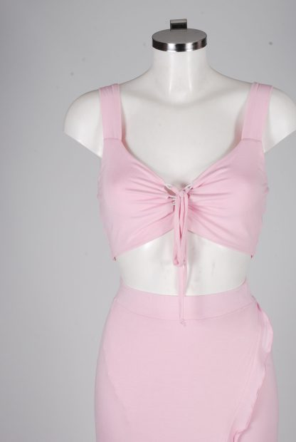 Boohoo Pink Jersey Co-Ord Set - Size 10 - Mannequin Detail