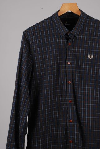 Fred Perry Green Check Shirt - Size M - Front Detail