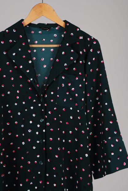 Monki Belted Polka Dot Box Shirt - Size S - Front Detail