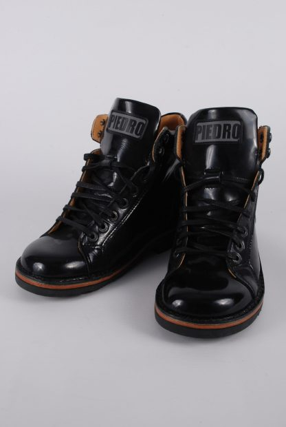 Piedro Black Patent Boots - Size 2.5 - Front