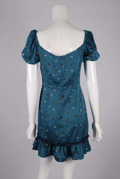 Boohoo Teal Floral Mini Dress - Size S - Back