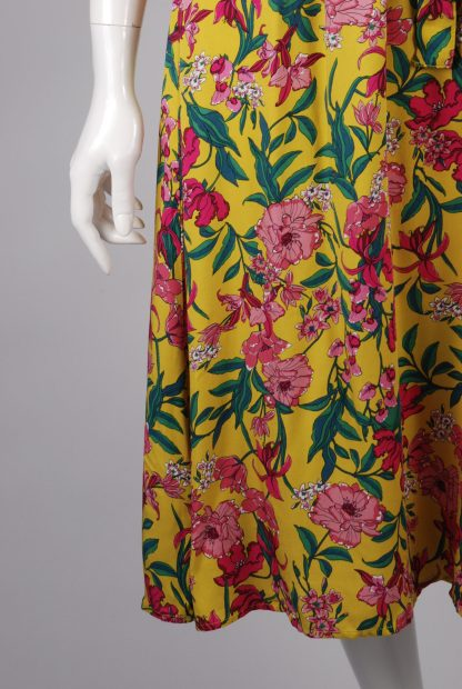 F+F Yellow & Pink Floral Dress - Size 14 - Front Skirt