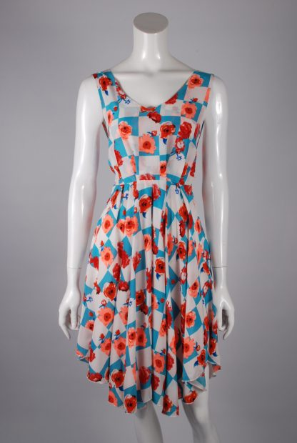 Sweet Poison Checkerboard Skater Dress - Size 10 - Front