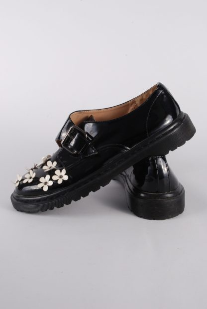 ASOS Black Patent Flower Decal Shoes - Size 8 - Side